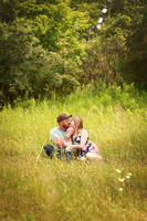Engagement session in field in Central Michigan