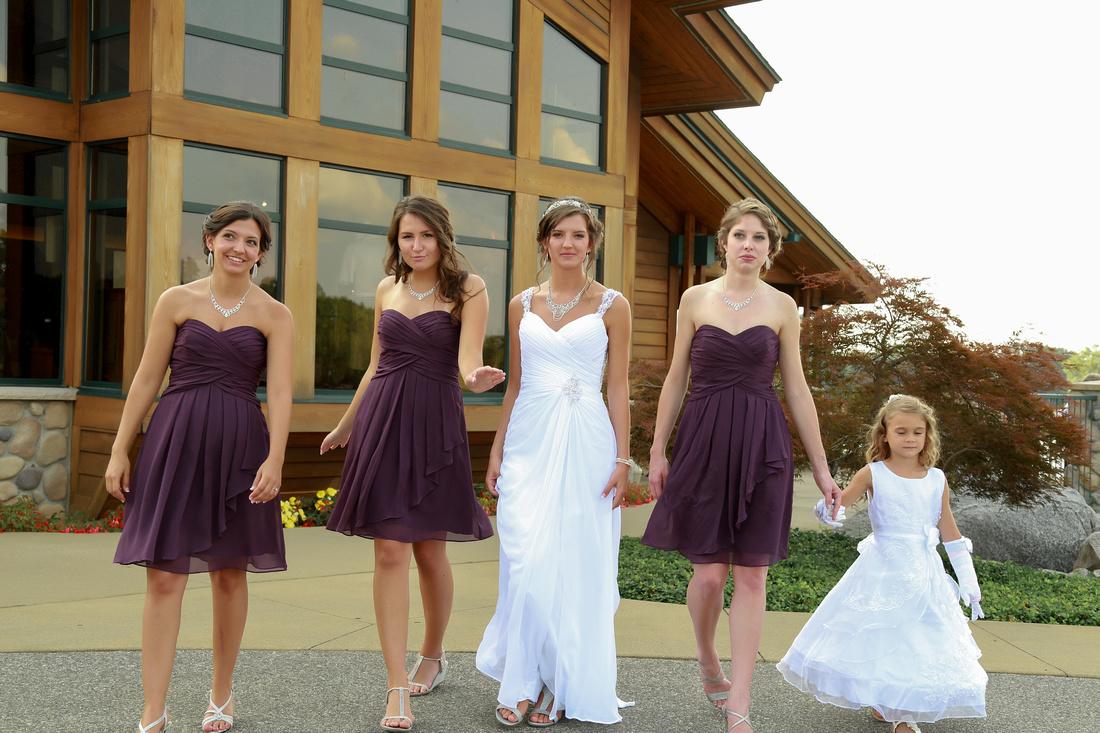 Bridemaids walking